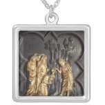 St. John the Baptist baptising in the River Square Pendant Necklace