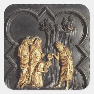 St. John the Baptist baptising in the River Square Sticker