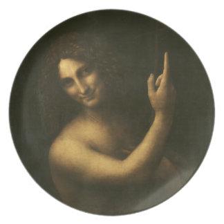 St John the Baptist by Leonardo da Vinci Melamine Plate