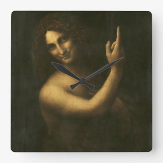 St John the Baptist by Leonardo da Vinci Square Wall Clock
