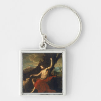 St. John the Baptist in the Wilderness Silver-Colored Square Keychain