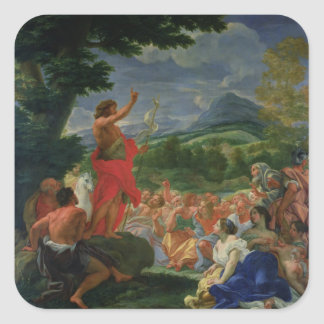 St. John the Baptist Preaching, painted before 169 Square Sticker