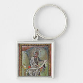 St. John the Evangelist, from the Ebbo Gospels Silver-Colored Square Keychain