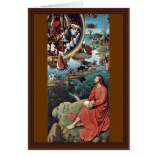 St. John The Evangelist In Patmos By Hans Memling Greeting Card