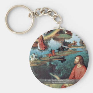 St. John The Evangelist In Patmos By Hans Memling Key Chains