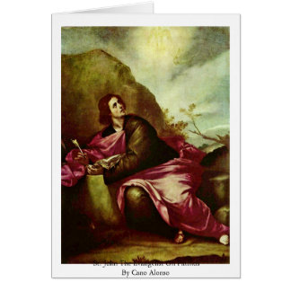 St. John The Evangelist On Patmos By Cano Alonso Greeting Card