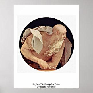 St. John The Evangelist Tondo By Jacopo Pontormo Poster