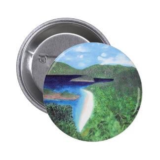 St John, US Virgin Islands Beach View Pinback Buttons