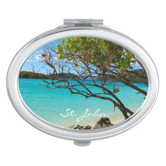 St. John USVI Cinnamon Bay Oval Compact Mirror