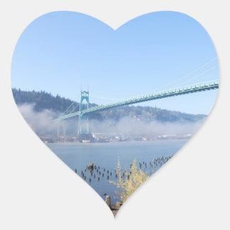 St. Johns Bridge, Beautiful Portland Oregon Heart Sticker