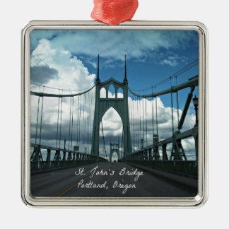 St. John's Bridge, Portland, Oregon Square Metal Christmas Ornament