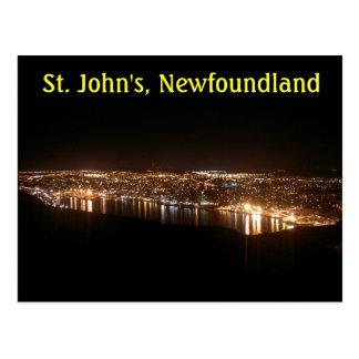 St. John's Cityscape at Night Postcard