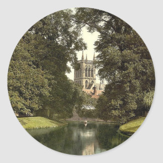 St. John's College, chapel from the river, Cambrid Round Stickers