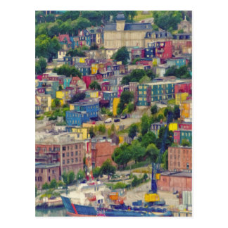 St John's Newfoundland Canada Colorful Painting Postcard