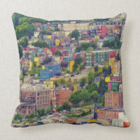 St John's Newfoundland Canada Colorful Painting Throw Pillow