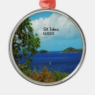 St. John's U.S.V.I. Round Metal Christmas Ornament