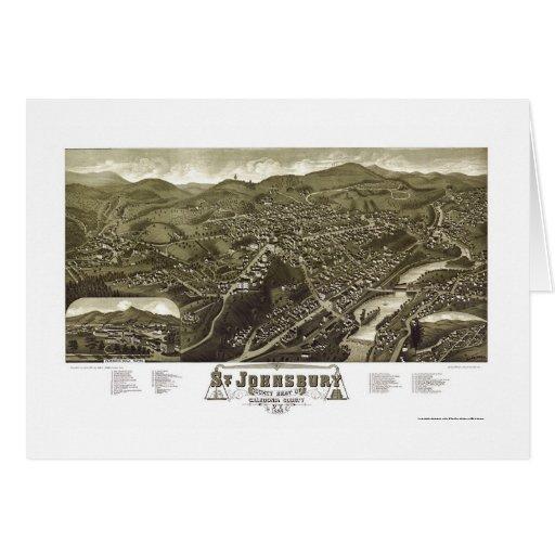 St. Johnsbury, mapa panorámico del VT - 1884 Tarjeta De Felicitación