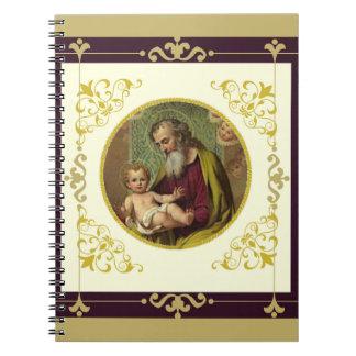 St. Joseph & Child Jesus Decorative Gold Notebook