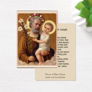 St. Joseph Jesus Lily  Memorare Prayer Business Card
