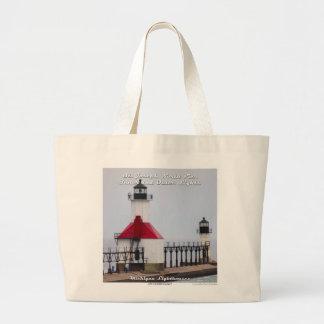 St. Joseph North Pier Lights - Large Tote Bag