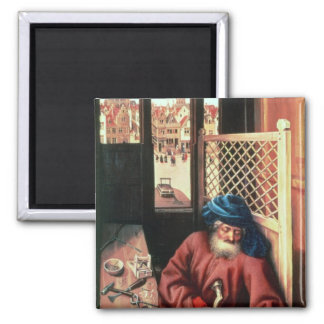 St. Joseph Portrayed as a Medieval Carpenter 2 Inch Square Magnet