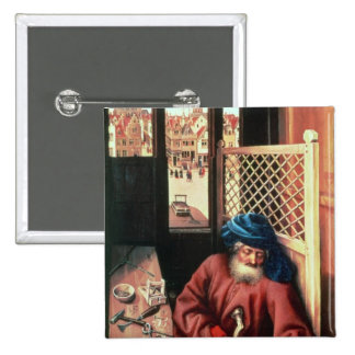 St. Joseph Portrayed as a Medieval Carpenter 2 Inch Square Button