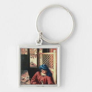 St. Joseph Portrayed as a Medieval Carpenter Silver-Colored Square Keychain