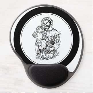 St. Joseph Pray for Us Black,  White, Catholic Gel Mouse Pad