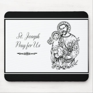 St. Joseph Pray for Us Black,  White, Catholic Mouse Pad