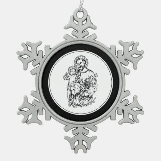 St. Joseph Pray for Us Black,  White, Catholic Snowflake Pewter Christmas Ornament