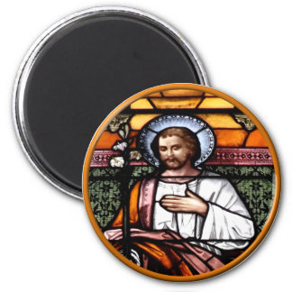 St. Joseph pray for us - stained glass window 2 Inch Round Magnet