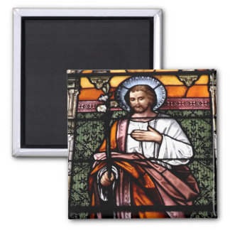 St. Joseph pray for us - stained glass window 2 Inch Square Magnet
