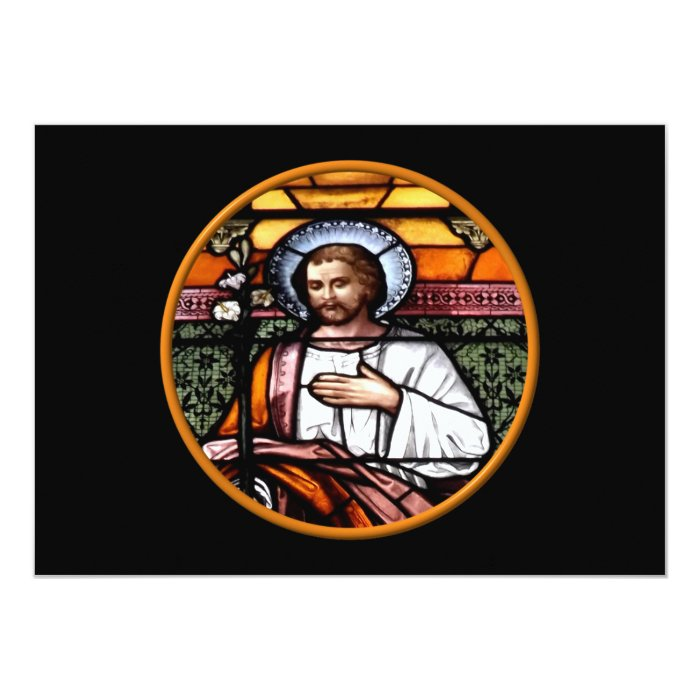 St. Joseph pray for us - stained glass window Card