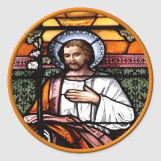 St. Joseph pray for us - stained glass window Classic Round Sticker