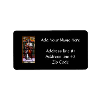 St. Joseph pray for us - stained glass window Label