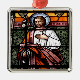 St. Joseph pray for us - stained glass window Metal Ornament
