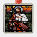St. Joseph pray for us - stained glass window Christmas Ornaments