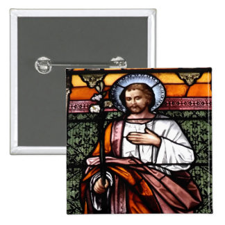 St. Joseph pray for us - stained glass window Pinback Button