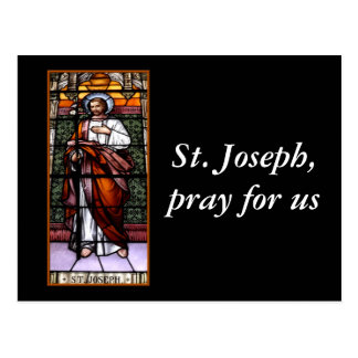 St. Joseph pray for us - stained glass window Postcard