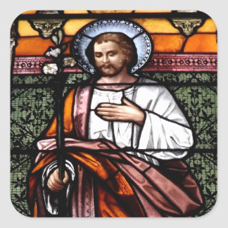 St. Joseph pray for us - stained glass window Square Sticker
