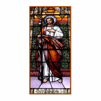 St. Joseph pray for us - stained glass window Statuette