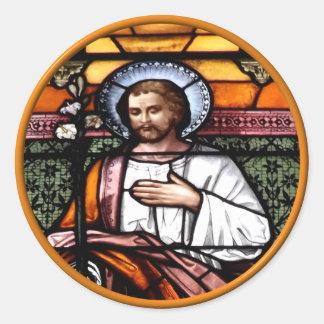 St. Joseph pray for us - stained glass window Classic Round Sticker