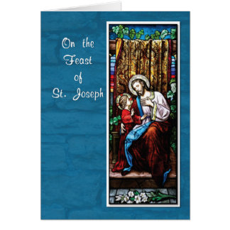 St. Joseph's Day with Jesus, on Blue Greeting Card