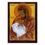 St. Joseph with Border Poster