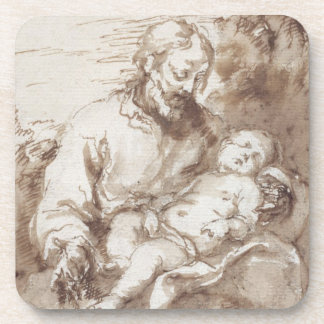 St. Joseph with the Sleeping Christ Child (pen & b Coaster