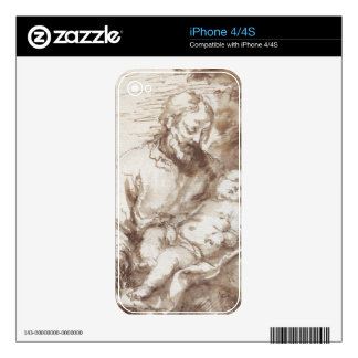 St. Joseph with the Sleeping Christ Child (pen & b Decal For The iPhone 4S
