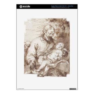 St. Joseph with the Sleeping Christ Child (pen & b iPad 3 Skin