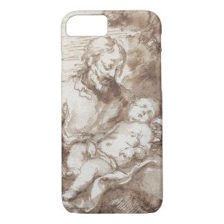 St. Joseph with the Sleeping Christ Child (pen & b iPhone 8/7 Case