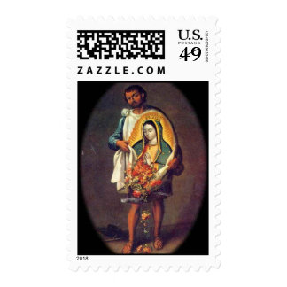 St. Juan Diego with Our Lady of Guadalupe Stamp Stamp