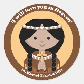 St. Kateri Tekakwitha Etiquetas Redondas